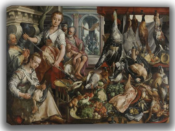 Bueckelaer, Joachim: The Well-Stocked Kitchen. Fine Art Canvas. Sizes: A4/A3/A2/A1 (004035)